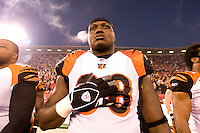 15 December 2007: Defensive end Bryan Robinson of the Cincinnati Bengals holds his hand over his heart during the National Anthem before the San Francisco 49ers 20-13 victory over the Bengals at Monster Park in San Francisco.