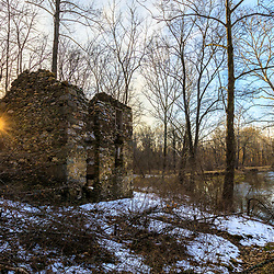 The ruins of a stone house next to Big Elk Creek in early spring in Elk Township, Pennsylvania.