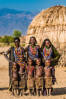 Arbore tribe women and children,  Omo Valley, Ethiopia.