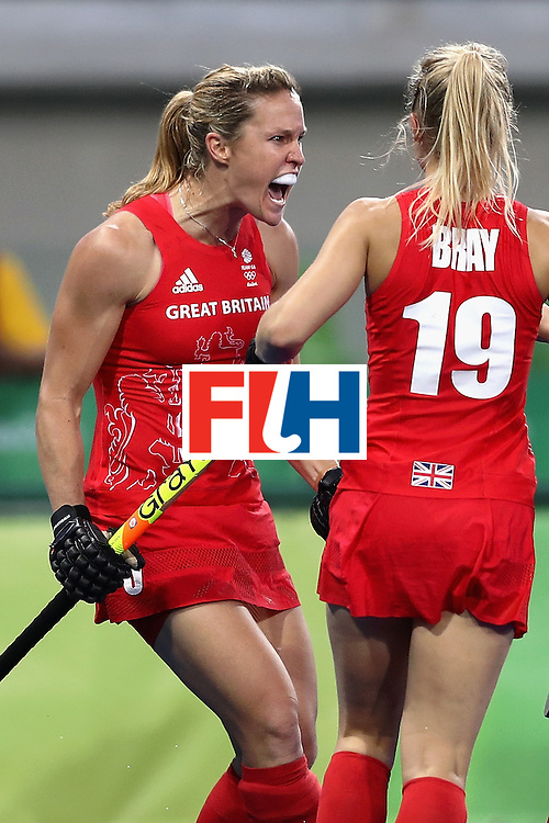 RIO DE JANEIRO, BRAZIL - AUGUST 19:  Crista Cullen of Great Britain celebrates her sides second goal against Netherlands on Day 14 of the Rio 2016 Olympic Games at the Olympic Hockey Centre on August 19, 2016 in Rio de Janeiro, Brazil.  (Photo by David Rogers/Getty Images)