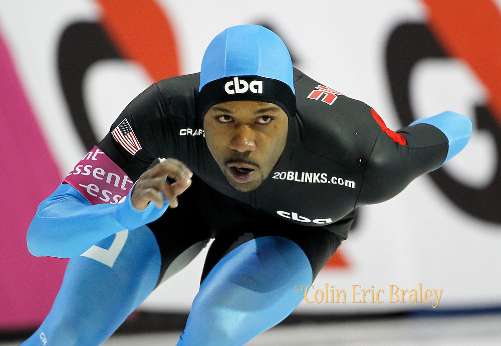 Shani Davis of the USA, competes in the men's 1500 meter World Cup speedskating competition at the Utah Olympic Oval in Kearns, Utah, Friday, Feb. 18, 2011. (AP Photo/Colin E Braley)