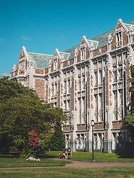 United States, Washington, Seattle, University of Washington main campus. Education Hall situated on the Quad.