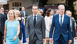 28.07.2016, Residenzplatz, Salzburg, AUT, Salzburger Festspiele, Eroeffnungsakt, im Bild Bundeskanzler Christian Kern (SPOe) mit Ehefrau Eveline, Vizekanzler Reinhold Mitterlehner (OeVP) // Chancellor Christian Kern (SPOe) with his wife Eveline, Vice Chancellor Reinhold Mitterlehner (OeVP) during the Opening Ceremony of the Salzburg Festival, it takes place from 22 July to 31 August 2016, at the Residenzplatz in Salzburg, Austria on 2016/07/28. EXPA Pictures © 2016, PhotoCredit: EXPA/ JFK