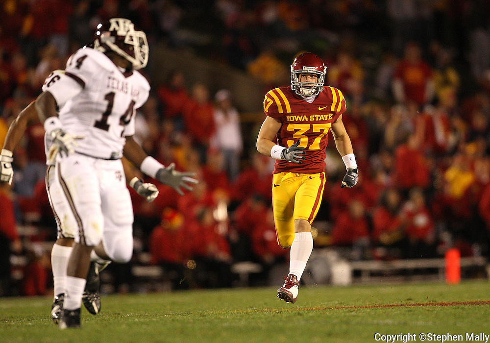 25 OCTOBER 2008: Iowa State defensive back Michael O'Connell (37) in the second half of an NCAA college football game between Iowa State and Texas A&M, at Jack Trice Stadium in Ames, Iowa on Saturday Oct. 25, 2008. Texas A&M beat Iowa State 49-35.