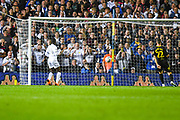 Leeds United forward Eddie Nketiah (14) scores a goal to make the score 1-0 during the EFL Sky Bet Championship match between Leeds United and Brentford at Elland Road, Leeds, England on 21 August 2019.