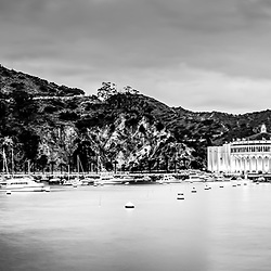 Avalon Bay Catalina Island at night black and white panorama picture with the Catalina Avalon Casino, Pacific Ocean and mountains. Catalina Island is a popular destination off the coast of Southern California in the United States.