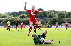Millie Farrow of Bristol City Women jumps over Hannah Cox of Oxford United - Mandatory by-line: Robbie Stephenson/JMP - 25/06/2016 - FOOTBALL - Stoke Gifford Stadium - Bristol, England - Bristol City Women v Oxford United Women - FA Women's Super League 2