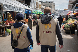 2 March 2020, Hebron: Daniel from Switzerland and Nora from Finland, both participants in the Ecumenical Accompaniment Programme in Palestine and Israel walk through the H1 area of Hebron, West Bank.
