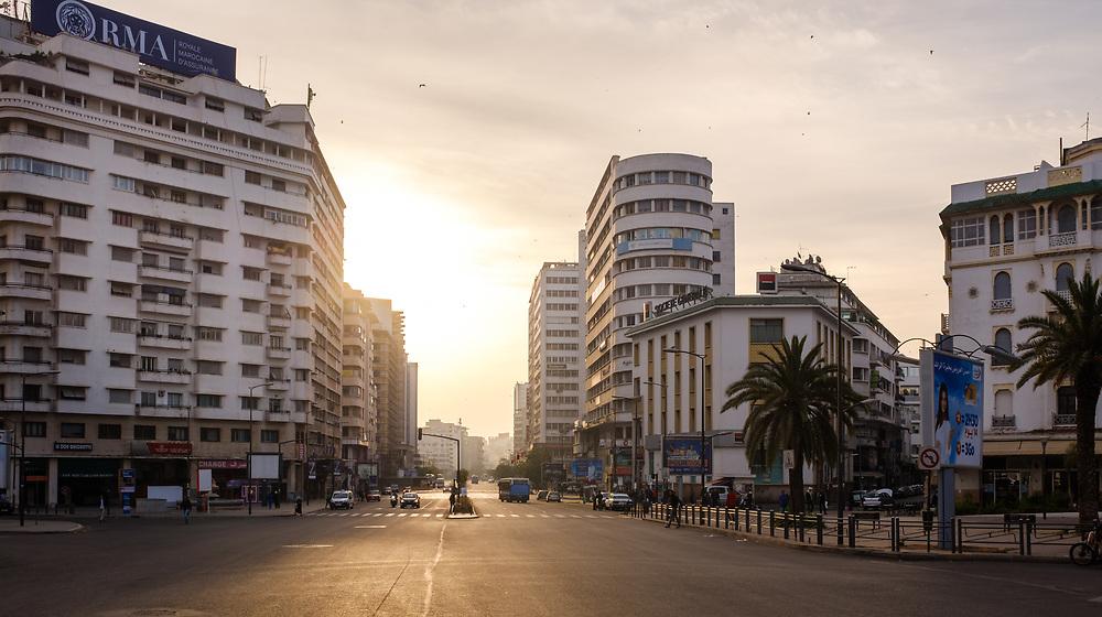 CASABLANCA, MOROCCO - CIRCA APRIL 2017: Avenue Des Far and Boulevard Hassan I in Casablanca early morning.