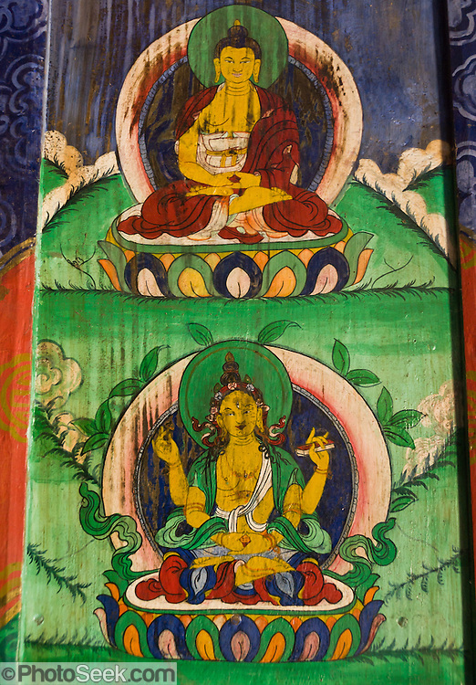 Tibetan Buddhist artwork seen along the trail to Mount Everest in Nepal.