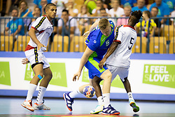 Kristjan Horzen of Slovenia and Jenilson Monteiro of Portugal during handball match between National teams of Portugal and Slovenia in Semifinal of 2018 EHF U20 Men's European Championship, on July 27, 2018 in Arena Zlatorog, Celje, Slovenia. Photo by Urban Urbanc / Sportida