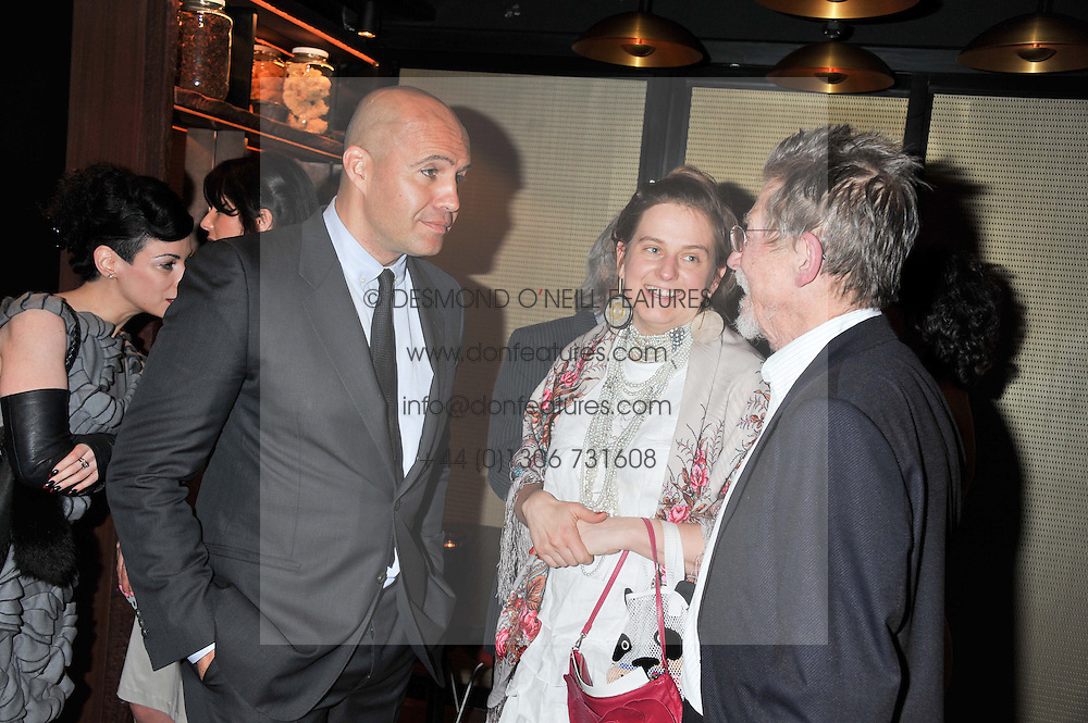 Left to right, BILLY ZANE, SVETLANA K-LIE and JOHN HURT at W London - Leicester Square for the Liberatum Cultural Honour in Spice Market for John Hurt, CBE in association with artist Svetlana K-Lié on 10th April 2013.