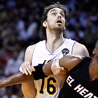 10 March 2011: Los Angeles Lakers power forward Pau Gasol (16) vies for the rebound with Miami Heat power forward Chris Bosh (1) during the Miami Heat 94-88 victory over the Los Angeles Lakers at the AmericanAirlines Arena, Miami, Florida, USA.