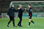 Carlisle Utd manager Keith Curle celebrates with Carlisle Utd's Anthony Sweeney after his teams penalty shoot-out win over Yeovil during the The FA Cup Third Round Replay match between Yeovil Town and Carlisle United at Huish Park, Yeovil, England on 19 January 2016. Photo by Graham Hunt.