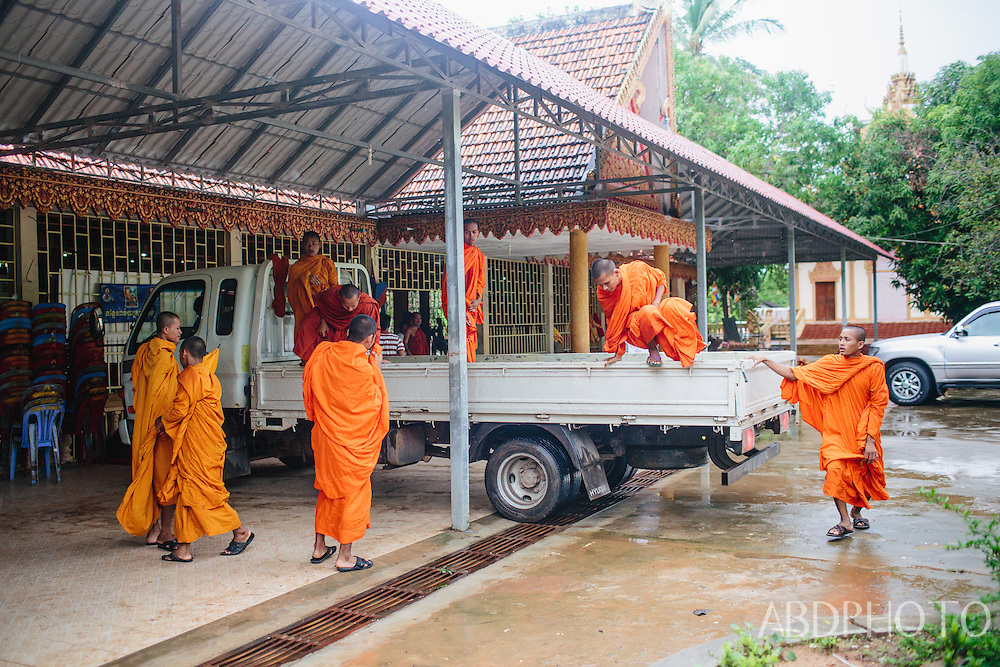 Monks at temple in Kampot Cambodia