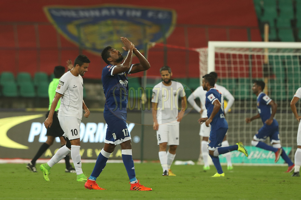 Dhanpal Ganesh of Chennaiyin FC celebrate the goal for Chennai during match 6 of the Hero Indian Super League between Chennaiyin FC and NorthEast United FC held at the Jawaharlal Nehru Stadium, Chennai, India on the 23rd November 2017<br /> <br /> Photo by: Ron Gaunt / ISL / SPORTZPICS