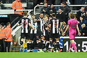 Isaac Hayden of Newcastle United celebrating his team's first goal during the The FA Cup third round replay match between Newcastle United and Rochdale at St. James's Park, Newcastle, England on 14 January 2020.