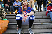 A young lady with Halloween facepaint during the International Series match between Los Angeles Rams and Cincinnati Bengals at Wembley Stadium, London, England on 27 October 2019.