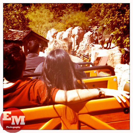 April 23, 2010; Anaheim, CA; USA; The scene from the back car or Disneyland's Big Thunder Mountain Railroad.  Shot with the iPhone and Hipstamatic app.