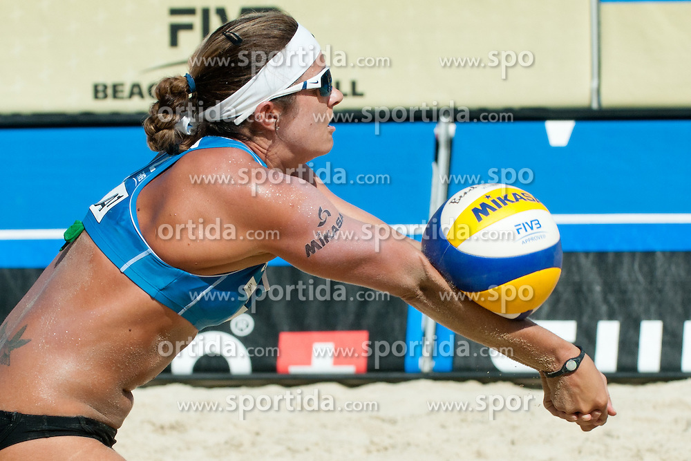 Misty May-Treanor of USA receiving ball at A1 Beach Volleyball Grand Slam tournament of Swatch FIVB World Tour 2011, on August 6, 2011 in Klagenfurt, Austria. (Photo by Matic Klansek Velej / Sportida)