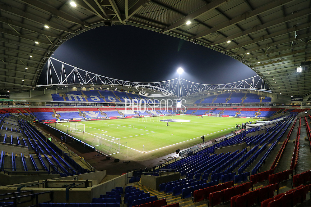 The Macron Stadium before the The FA Cup Third Round Replay match between Bolton Wanderers and Eastleigh at the Macron Stadium, Bolton, England on 19 January 2016. Photo by Pete Burns.