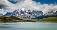 The Torres del Paine mountain range, taken from a viewing point on the far shore of Laguna Amargo.
