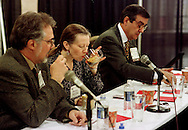 Judges Paul Songer, left, Sherri Miller, center, and Carlo DiRuocco, taste flavored coffee drinks during the Torani 5th Annual Barista Cup, Monday, May 3, 1999, in Philadelphia. (Photo by William Thomas Cain)