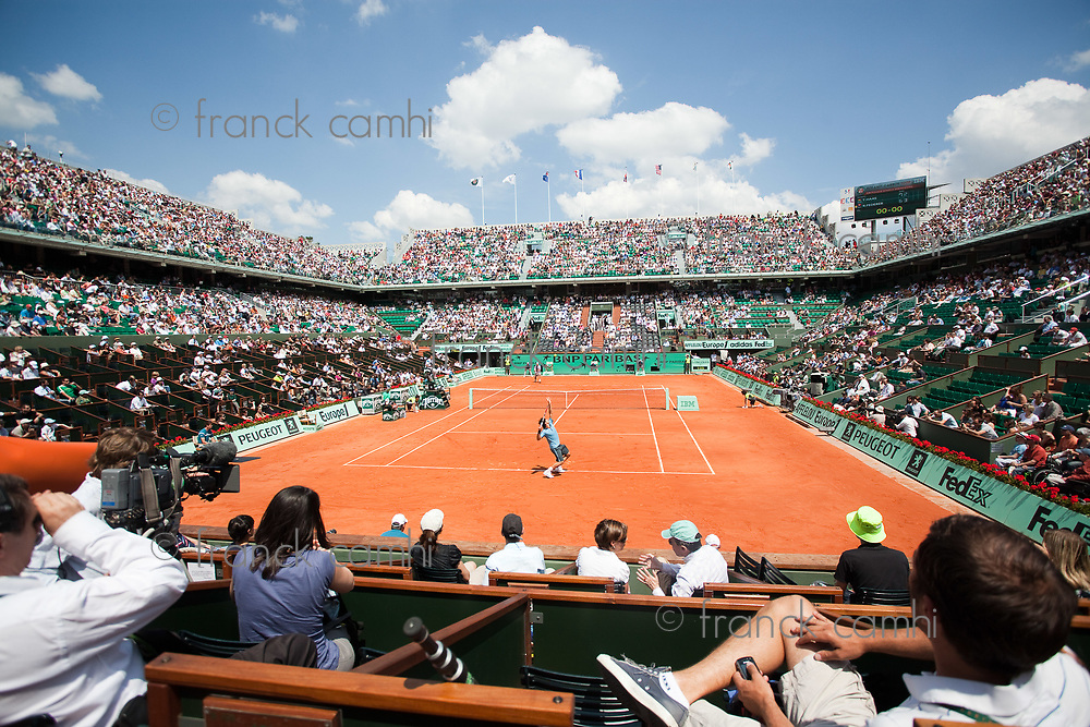 Paris,France central court in grand slam french international tennis open of roland garros 2009 from may 22 to 5 th june