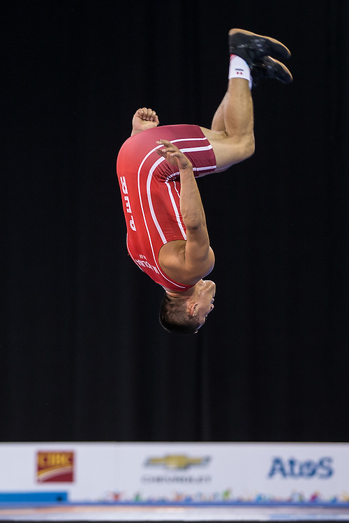 Mario Molina of Peru does a flip following his win over Jefrin Mejia of Honduras in the bronze medal match for the  66kg class of the men's greco-roman wrestling at the 2015 Pan American Games in Toronto, Canada, July 15,  2015.  AFP PHOTO/GEOFF ROBINS