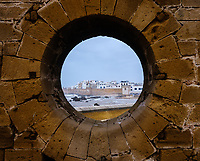 ESSAOUIRA, MOROCCO - CIRCA MAY 2018:  Essaouria as seen from and the famous Castelo Real of Mogador.