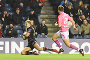 Jaco van der Walt scores try during the European Rugby Challenge Cup match between Edinburgh Rugby and Stade Francais at Murrayfield Stadium, Edinburgh, Scotland on 12 January 2018. Photo by Kevin Murray.