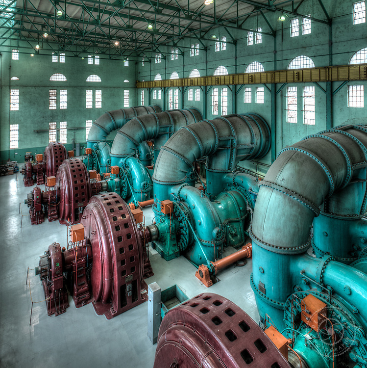 Dean Davis is a commercial photographer based in Spokane Washington and focuses on architecture, heavy industry, advertising, banking, transportation as well as personal fine art work. This image was made for Avista Utilities inside the powerhouse at Long Lake Dam.