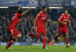 20.11.2011, Stamford Bridge Stadion, London, ENG, PL, FC Chelsea vs FC Liverpool, 12. Spieltag, im Bild Liverpool's Glen Johnson celebrates scoring the winning goal during the football match of English premier league, 12th round, between FC Chelsea and FC Liverpool at Stamford Bridge Stadium, London, United Kingdom on 20/11/2011. EXPA Pictures © 2011, PhotoCredit: EXPA/ Sportida/ Chris Brunskill..***** ATTENTION - OUT OF ENG, GBR, UK *****