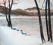 "Winter Landscape. Lake Chelan, WA. Acrylic.  20x24"" ©JoAnn Hawkins."