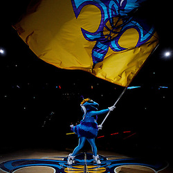 January 24,  2011; New Orleans, LA, USA; New Orleans Hornets mascot Hugo waves a team flag prior to introduction for a game against the Oklahoma City Thunder at the New Orleans Arena. Mandatory Credit: Derick E. Hingle