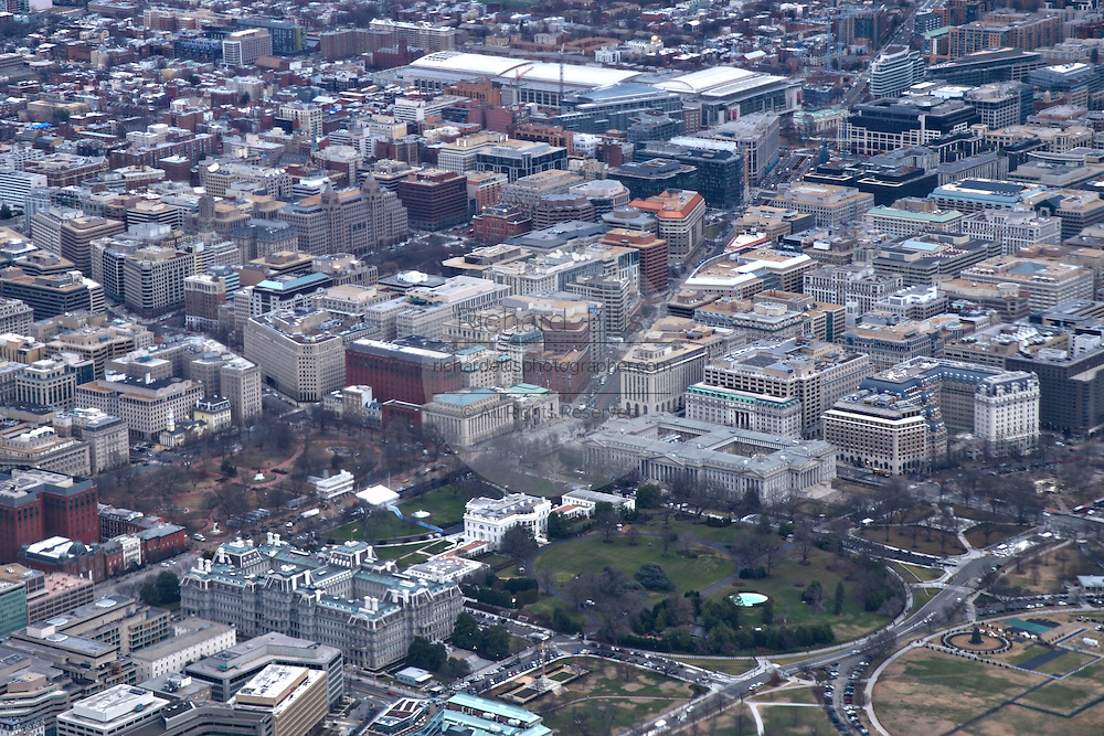 Aerial view of the White House in Washington, DC.