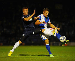 Bristol Rovers' Lee Brown is closed down by a Southend player - Photo mandatory by-line: Seb Daly/JMP - Tel: Mobile: 07966 386802 27/09/2013 - SPORT - FOOTBALL - Roots Hall - Southend - Southend United V Bristol Rovers - Sky Bet League Two