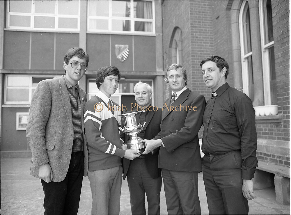 Delivery of the Bic Perpetual trophy to the Windsurfing College, Belvedere College, Denmark Street, Dublin,<br /> 11th May 1984