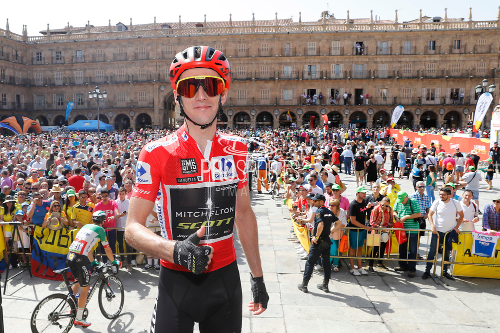 Simon Yates (GBR - Mitchelton - Scott) red leader jersey at the start of the 73th Edition Tour of Spain, Vuelta Espana 2018, stage 10 cycling race, Salamanca - Fermoselle Bermillo de Sayago 177 km on September 4, 2018 in Spain - Photo Luis Angel Gomez / BettiniPhoto / ProSportsImages / DPPI