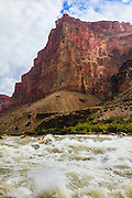 Rafters enter Lava Falls Rapid on the Colorado River. Grand Canyon National Park in Arizona.