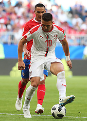 SAMARA, June 17, 2018  Dusan Tadic (front) of Serbia controls the ball during a group E match between Costa Rica and Serbia at the 2018 FIFA World Cup in Samara, Russia, June 17, 2018. (Credit Image: © Ye Pingfan/Xinhua via ZUMA Wire)