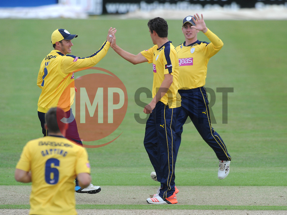 Chris Wood of Hampshire celebrates as Chris Dent of Gloucestershire is caught out by Joe Gatting  - Photo mandatory by-line: Dougie Allward/JMP - Mobile: 07966 386802 - 14/07/2015 - SPORT - Cricket - Cheltenham - Cheltenham College - Natwest T20 Blast
