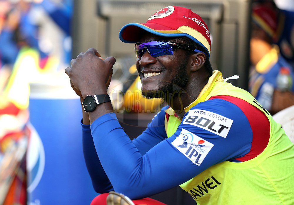 Royal Challengers Bangalore player Daren Sammy during match 46 of the Pepsi IPL 2015 (Indian Premier League) between The Mumbai Indians and The Royal Challengers Bangalore held at the Wankhede Stadium in Mumbai, India on the 10th May 2015.<br /> <br /> Photo by:  Sandeep Shetty / SPORTZPICS / IPL