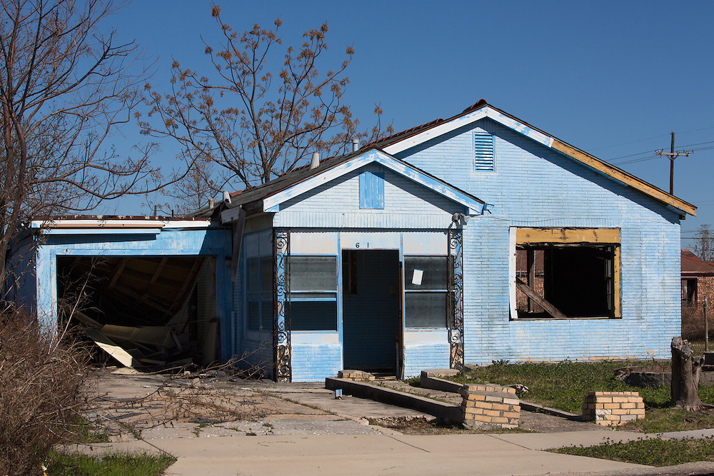New Orleans, LA, January 20, Blighted house in New Orleans lower 9th Ward.Nine years after hurricane Katrina parts of the city have still not recovered.