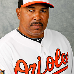 March 1, 2012; Sarasota, FL, USA; Baltimore Orioles third base coach DeMarlo Hale (45) poses for a portrait during photo day at the spring training headquarters.  Mandatory Credit: Derick E. Hingle-US PRESSWIRE
