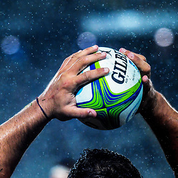 Agustin Creevy throws in to a lineout during the Super Rugby match between the Blues and Jaguares at Eden Park in Auckland, New Zealand on Friday, 28 April 2018. Photo: Dave Lintott / lintottphoto.co.nz
