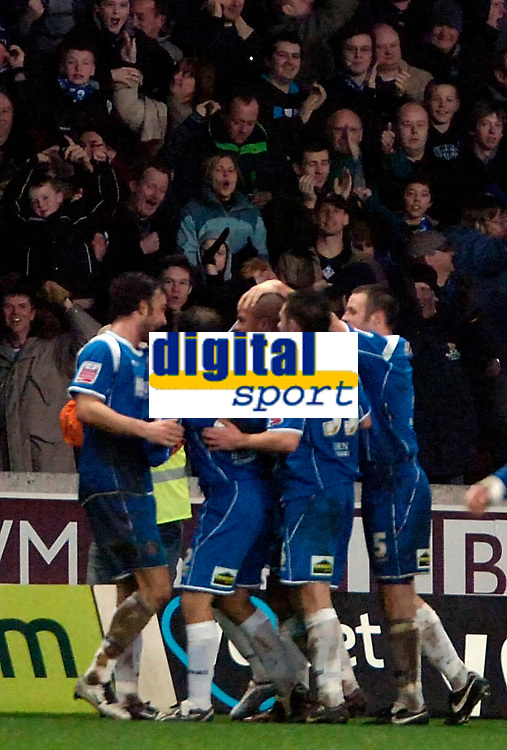 Photo: Ed Godden/Sportsbeat Images.<br /> Wolverhampton Wanderers v Oldham Athletic. The FA Cup. 06/01/2007. Oldham's Chris Hall celebrates scoring the late equaliser to make it 2-2.