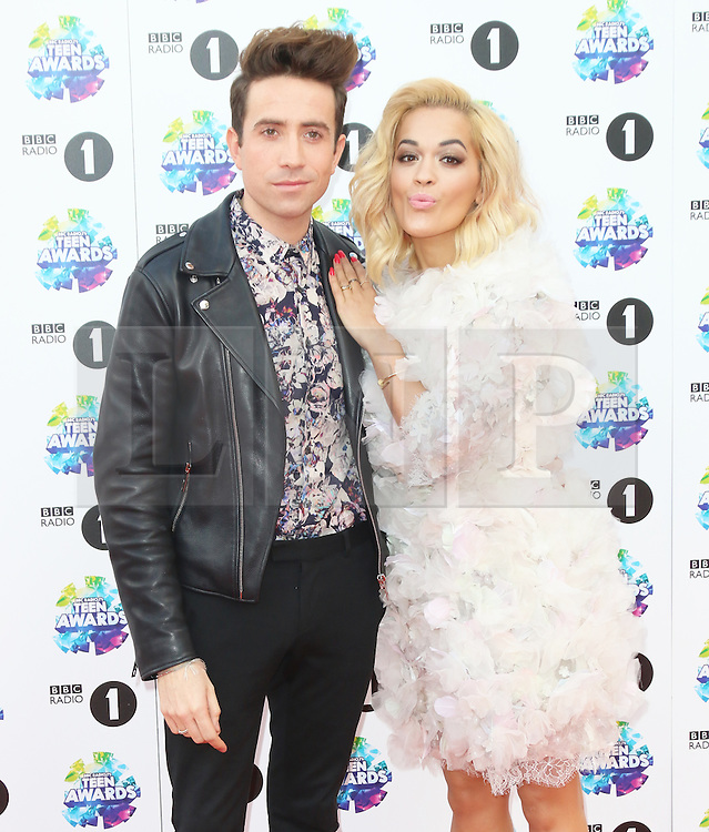 Nick Grimshaw; Rita Ora, BBC Radio 1 Teen Awards, Wembley Arena, London UK, 03 November 2013, Photo by Richard Goldschmidt © Licensed to London News Pictures. Photo credit : Richard Goldschmidt/Piqtured/LNP