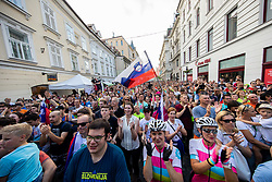 Supporters during reception of best Slovenian riders after Giro d'Italia 2019 and Tour of California 2019, on June 3rd, 2019, in Mestni trg, Ljubljana, Slovenia. Photo by Vid Ponikvar / Sportida