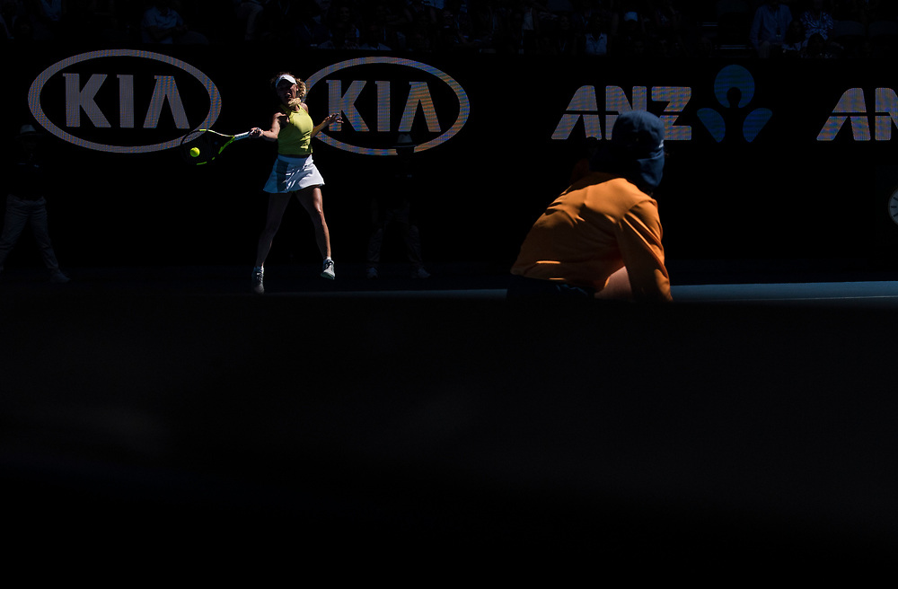Caroline Wozniacki of Denmark on day three of the 2018 Australian Open in Melbourne Australia on Wednesday January 17, 2018..<br /> (Ben Solomon/Tennis Australia)